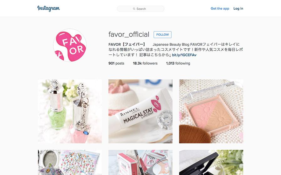 FAVOR(フェイバー)のインスタグラムのページ
