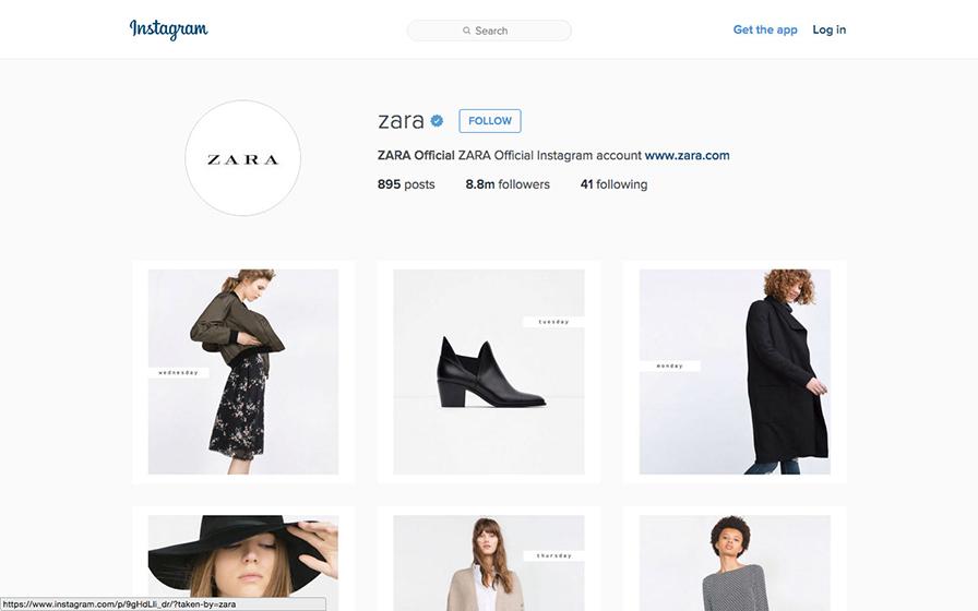 ZARA(ザラ)のインスタグラムページ