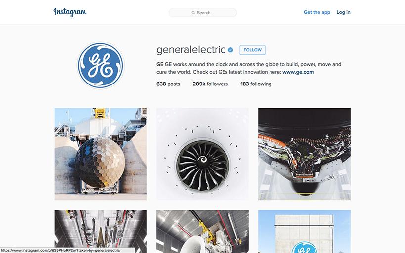 General Electricのインスタグラムページ