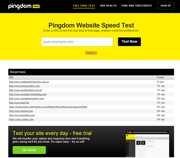 Pingdom Website Speed Testのホームページ