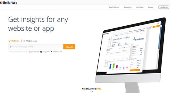 SimilarWeb(シミラーウェブ)のホームページ