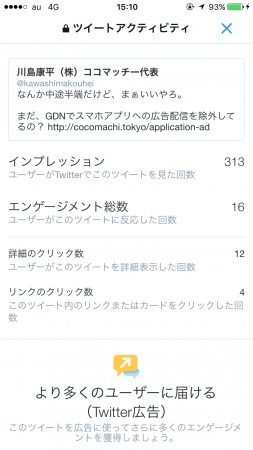 Twitterアナリティクス(スマホ)
